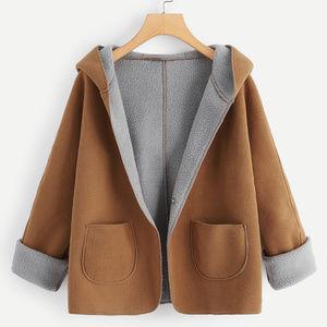 Jackets & Blazers - Contrast Sherpa Lining Single Button Hooded Coat